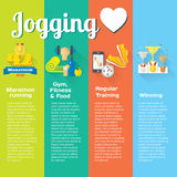 Jogging concept flat icons of gym, healthy food, metrics. Illustration and modern design element Stock Image