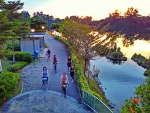 Jogging and cycling in Punggol Stock Photography