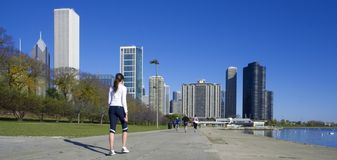 Jogging in downtown Chicago Royalty Free Stock Photography
