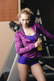 After jogging with drink Royalty Free Stock Images
