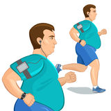 Jogging fat man, loss weight cardio training with smart device. Stock Image