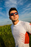 Jogging through the fields Stock Photos