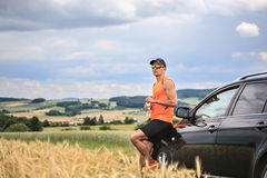 Jogging through the fields Royalty Free Stock Image