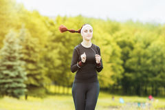 Jogging and Fitness Concepts: Portrait of Beautiful Caucasian Y Royalty Free Stock Photo
