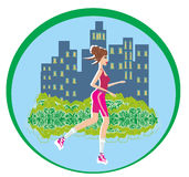 Jogging girl in city - abstract card Royalty Free Stock Images