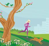 Jogging girl in the park. Vector Illustration Royalty Free Stock Images