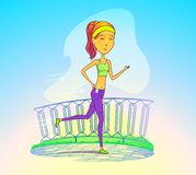 Jogging girl or running woman with music player Stock Images