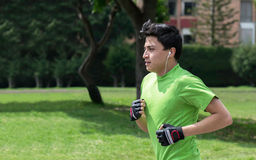 Jogging at the green park Royalty Free Stock Image