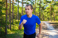Jogging - handsome man running in summer forest Stock Image