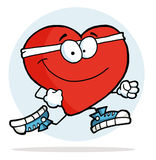 Jogging Heart. Happy Jogging Red Man Heart Royalty Free Stock Photo