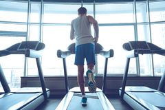 Jogging his way to good health. Royalty Free Stock Photography