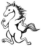 Jogging Horse. Humorous cartoon line drawing, vertical, vector illustration, isolated Royalty Free Stock Photos