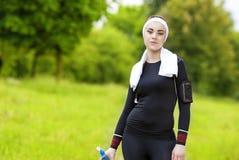 Jogging i sprawności fizycznej pojęcie: Portret Uśmiechnięty Kaukaski napad Wo Obrazy Royalty Free