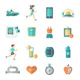 Jogging Icons Flat Royalty Free Stock Images