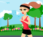 Jogging. Illustration of a active woman jogging through a park Stock Photos