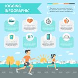 Jogging Infographics Set. Jogging and running infographics set with people running outdoor vector illustration Stock Photography
