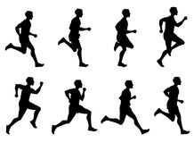 Jogging man, running athlete, runner vector silhouettes set. Man running training. illustration of sprinter man run Royalty Free Stock Images