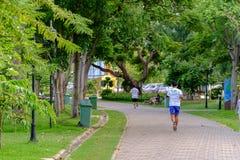 Jogging man running in public park stock photo