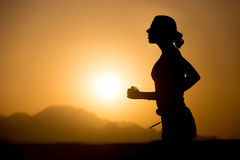 Jogging in mountains Stock Photography