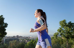 Jogging with my favourite music Royalty Free Stock Images