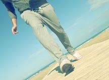 Jogging na plaży Zdjęcia Royalty Free