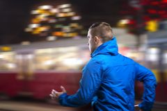 Jogging at night Stock Photography