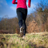 Jogging outdoors in a meadow Royalty Free Stock Image