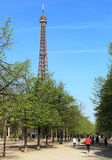 Jogging in Paris. Paris,France- April 1st,2012: Image of people jogging near the Eiffel Tower in Paris in a spring morning Stock Photo