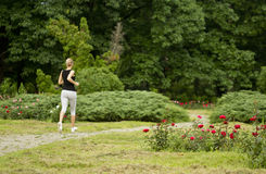 Jogging in park. A young girl jogging in the park on the alley stock photography