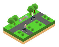 Jogging in the park isometrics Stock Image