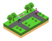 Jogging in the park isometrics Royalty Free Stock Photos