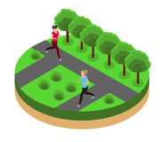 Jogging in the park isometrics Royalty Free Stock Images