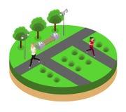 Jogging in the park isometrics Stock Photos