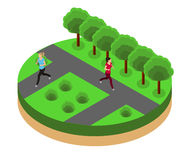 Jogging in the park isometrics Royalty Free Stock Photography