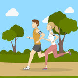 Jogging in the park. Stock Photo
