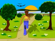Jogging in the park. Jogging in a park near the river stock illustration