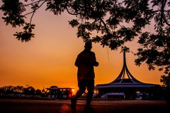Jogging in the park Suan Luang Rama 9 public park , Bangkok Thai. Land Royalty Free Stock Photos