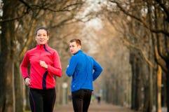 Jogging in park Stock Photos