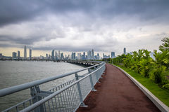 Jogging path wit skyline view in Cinta Costera - Panama City, Panama Royalty Free Stock Photography