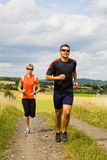 Jogging people 2. The people jogging cross country stock images