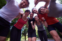 Jogging people group have fun Stock Images