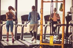 Jogging. People at gym. stock images