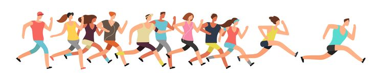 Jogging people. Runners group in motion. Running men and women sports background. People runner race, training to marathon, jogging and running illustration Royalty Free Stock Photos