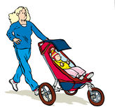 Jogging with pram. Mum jogging with toddler in pram or stroller Royalty Free Stock Images
