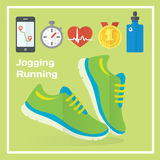 Jogging and running concept flat icons of gym, healthy food, metrics. Royalty Free Stock Image