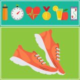 Jogging and running concept flat icons Royalty Free Stock Images