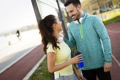 Jogging and running are fitness recreations. Jogging and running are healthy fitness recreations Stock Photos