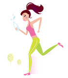 Jogging or running healthy Woman with water bottle. Jogging woman isolated on white background. Vector Illustration Royalty Free Stock Images