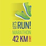 Jogging and running marathon concept flat icon Stock Photo