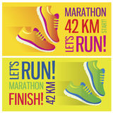 Jogging and running marathon concept flat icon Stock Photography